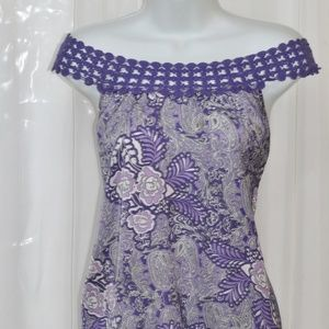 Apt 9 XL Purple Sleeveless Paisley off shoulders